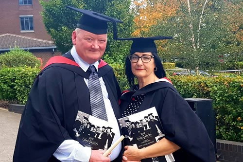Husband and wife graduate together at the University Centre at Blackburn College