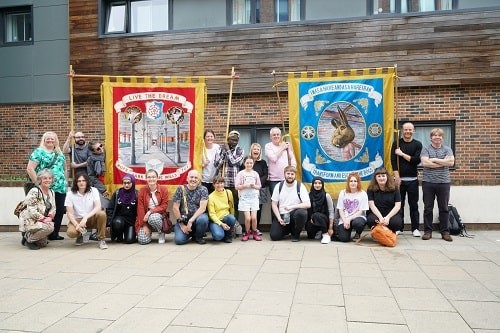 Staff and Students march in the Durham Miners Gala Procession